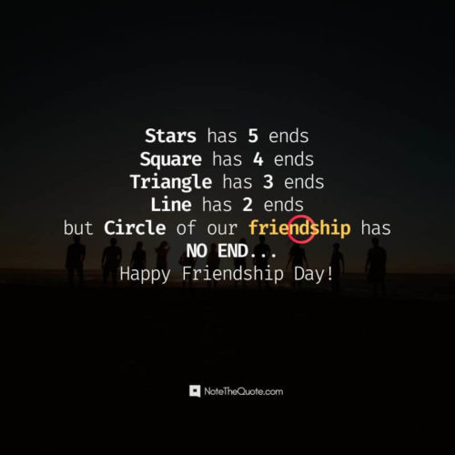 Happy Friendship Day-Quotes-Stars has 5 ends, Square has 4 ends, Trinagle has 3 ends, Line has 2 ends but Circle of our friendship has no end.-NoteTheQuote